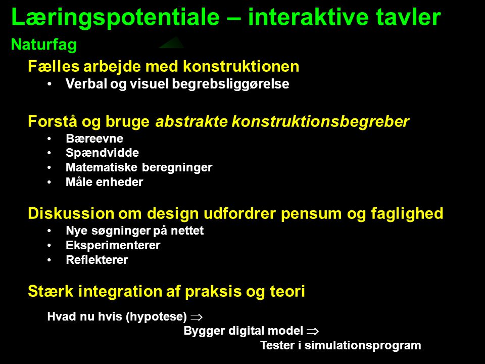 Læringspotentiale – interaktive tavler