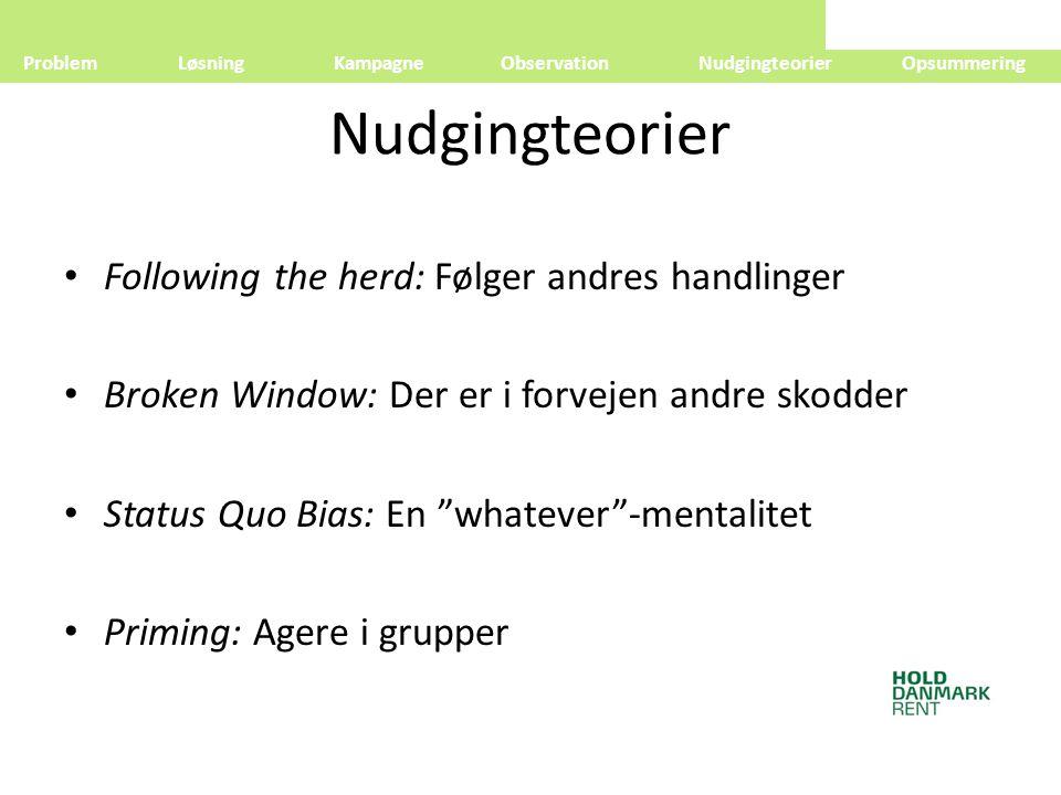 Nudgingteorier Following the herd: Følger andres handlinger