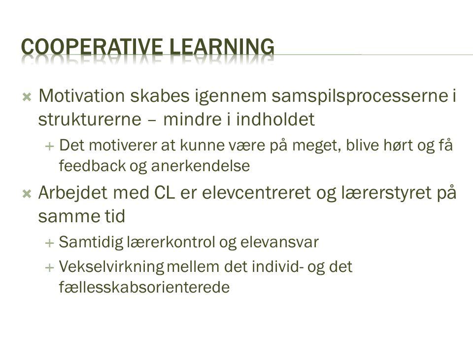 Cooperative learning Motivation skabes igennem samspilsprocesserne i strukturerne – mindre i indholdet.