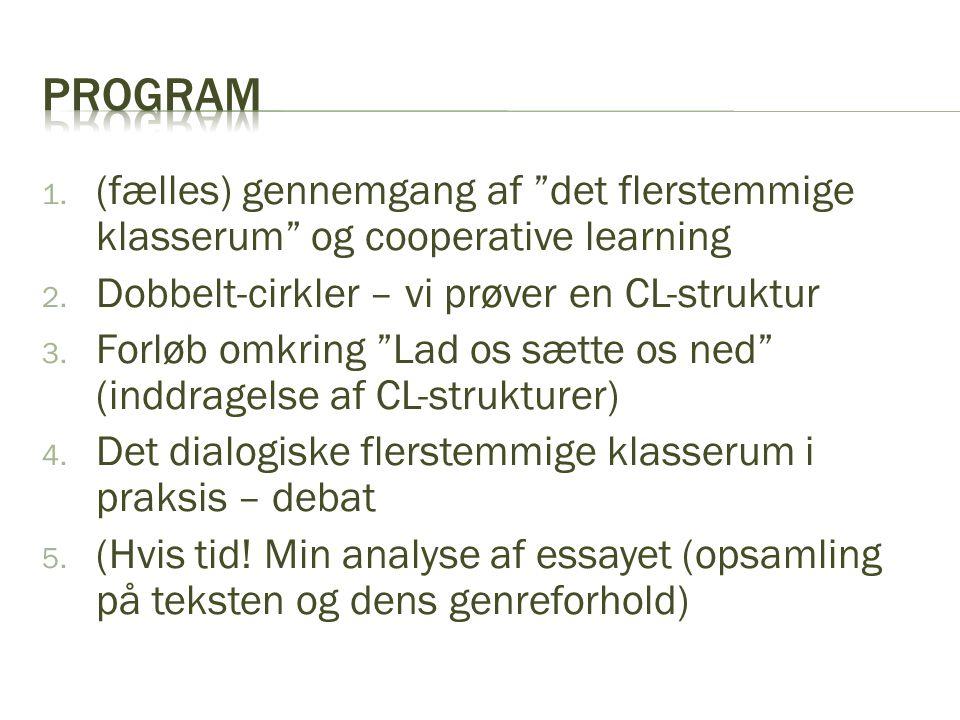 Program (fælles) gennemgang af det flerstemmige klasserum og cooperative learning. Dobbelt-cirkler – vi prøver en CL-struktur.