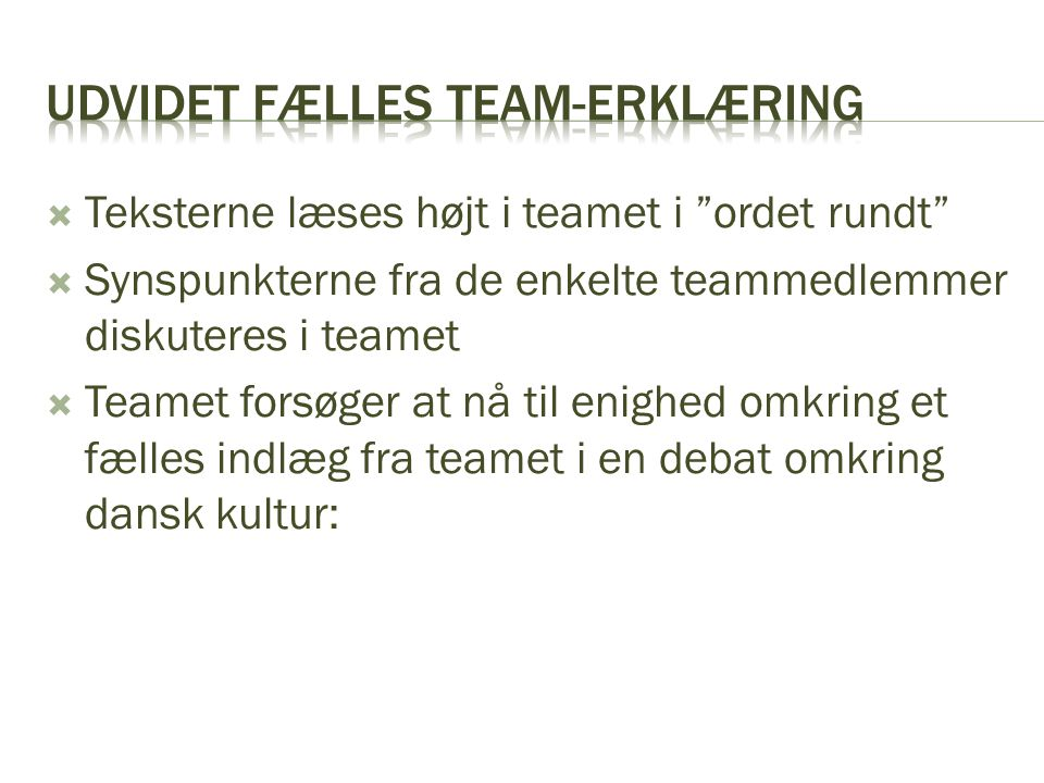 Udvidet fælles team-erklæring