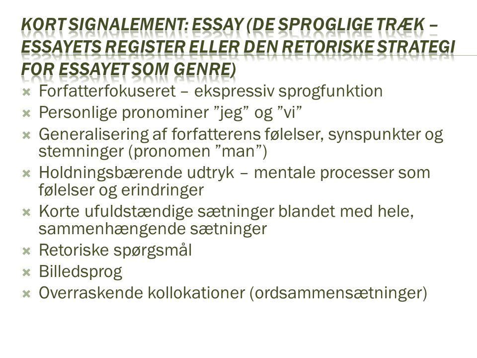 Kort signalement: essay (de sproglige træk – essayets register eller den retoriske strategi for essayet som genre)