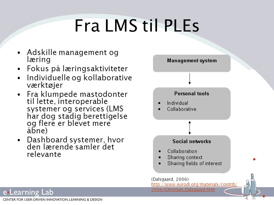 Fra LMS til PLEs Adskille management og læring