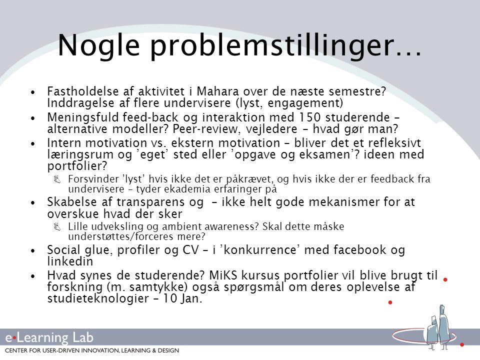 Nogle problemstillinger…