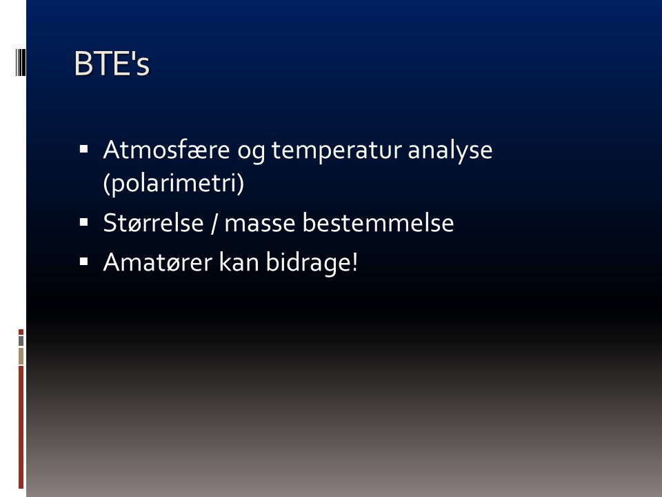 BTE s Atmosfære og temperatur analyse (polarimetri)