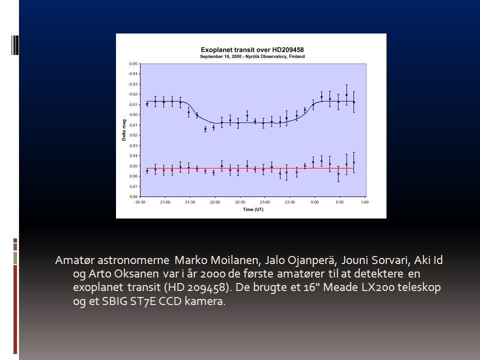 Amatør astronomerne Marko Moilanen, Jalo Ojanperä, Jouni Sorvari, Aki Id og Arto Oksanen var i år 2000 de første amatører til at detektere en exoplanet transit (HD 209458).