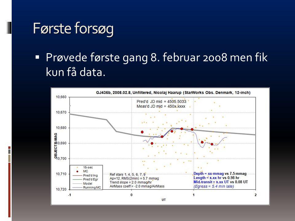 Første forsøg Prøvede første gang 8. februar 2008 men fik kun få data.