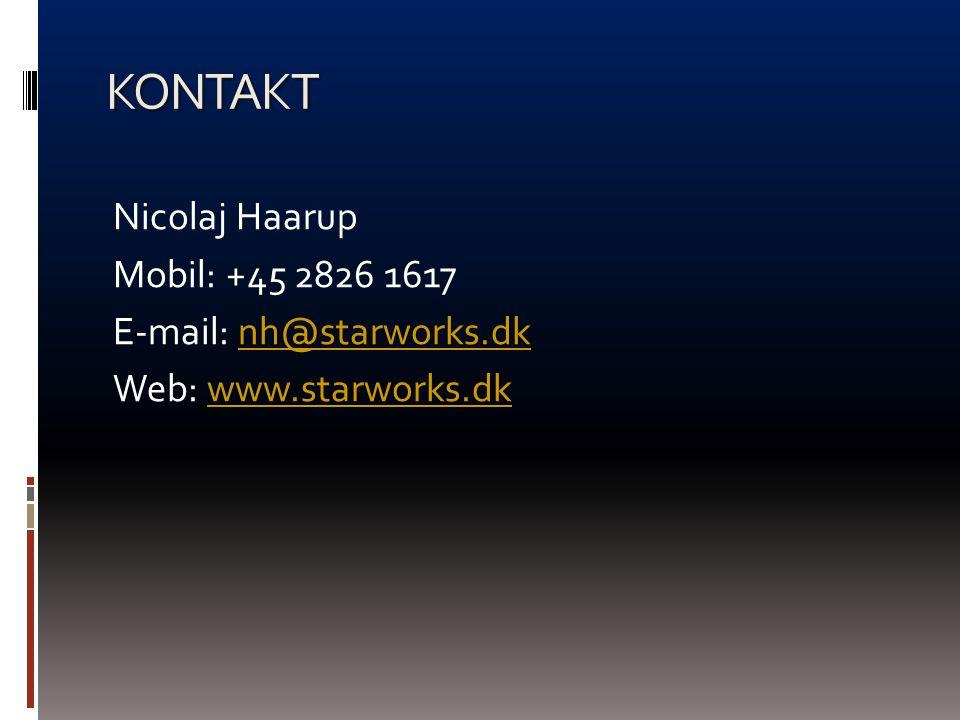KONTAKT Nicolaj Haarup Mobil: +45 2826 1617 E-mail: nh@starworks.dk Web: www.starworks.dk