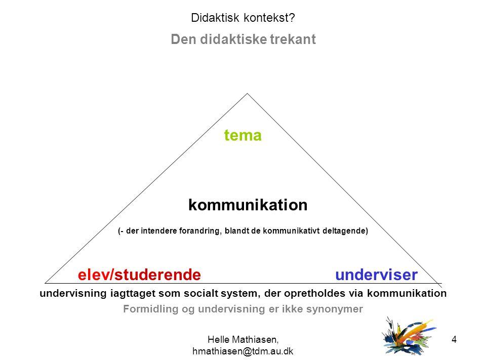 Den didaktiske trekant Formidling og undervisning er ikke synonymer