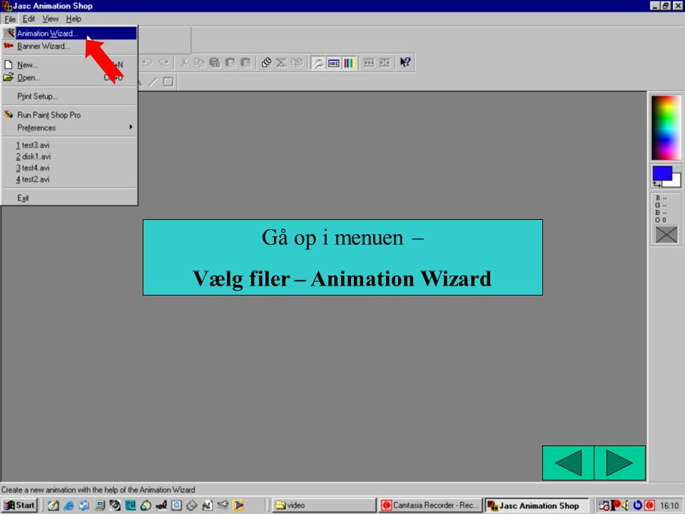 Vælg filer – Animation Wizard