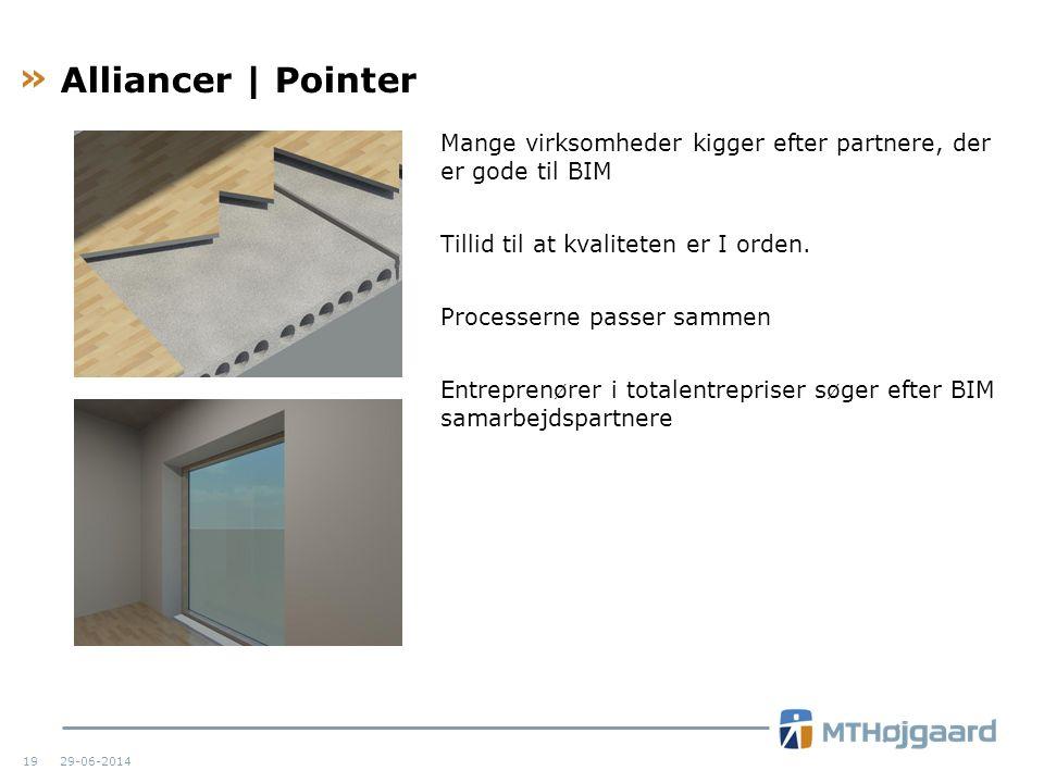 Alliancer | Pointer Mange virksomheder kigger efter partnere, der er gode til BIM. Tillid til at kvaliteten er I orden.
