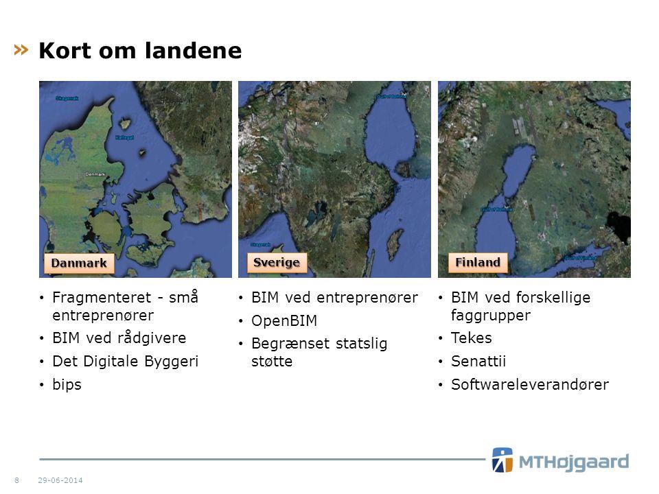 Kort om landene Fragmenteret - små entreprenører BIM ved rådgivere