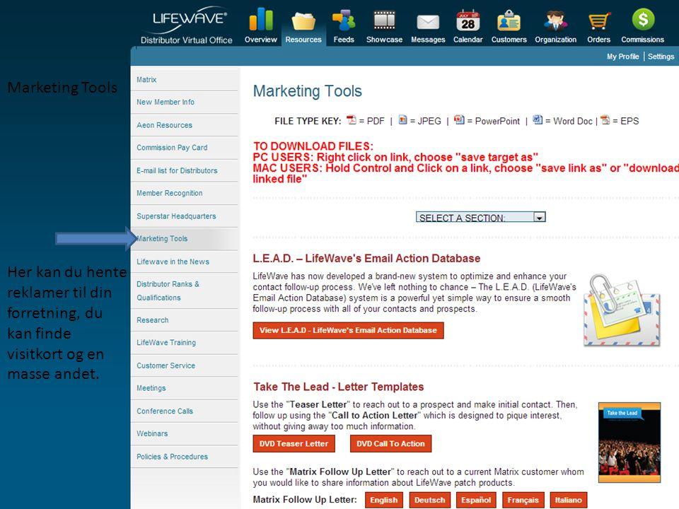 Marketing Tools Her kan du hente reklamer til din forretning, du kan finde visitkort og en masse andet.