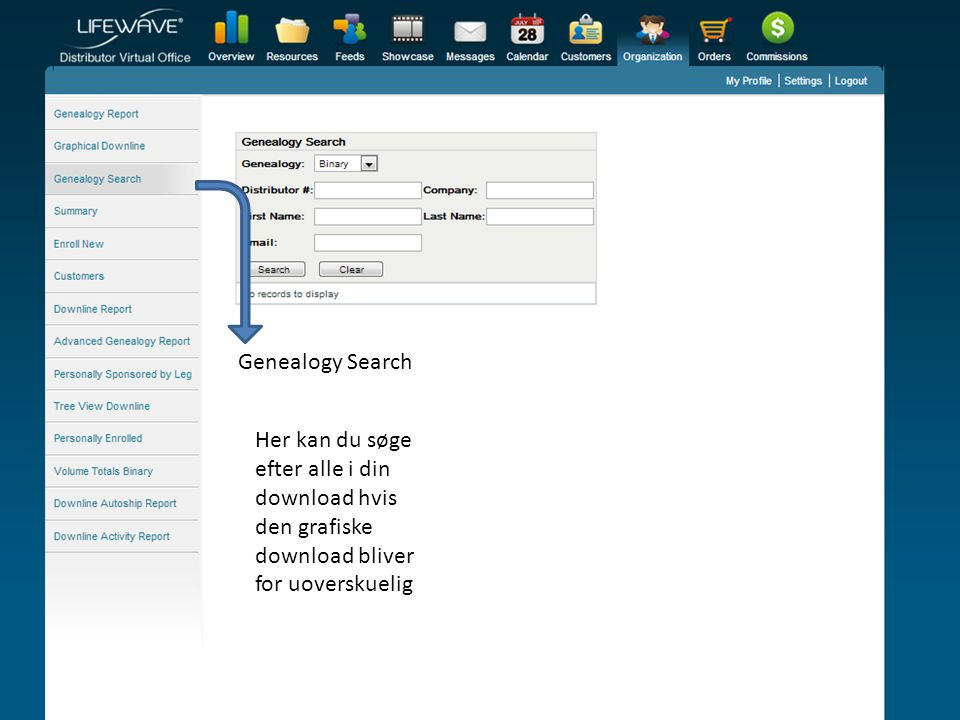 Genealogy Search Her kan du søge efter alle i din download hvis den grafiske download bliver for uoverskuelig.