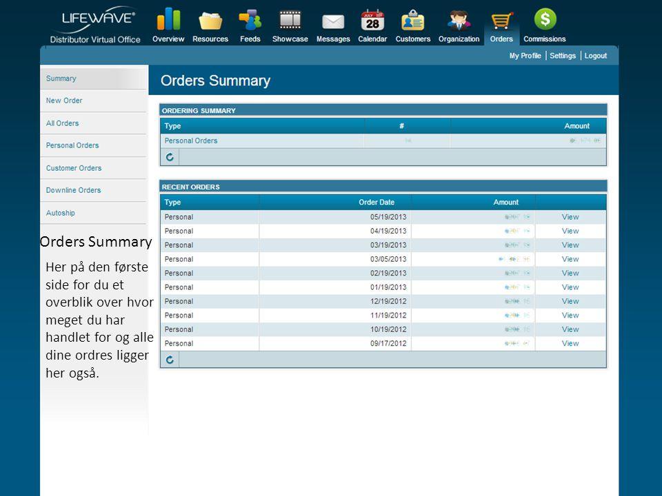 Orders Summary Her på den første side for du et overblik over hvor meget du har handlet for og alle dine ordres ligger her også.