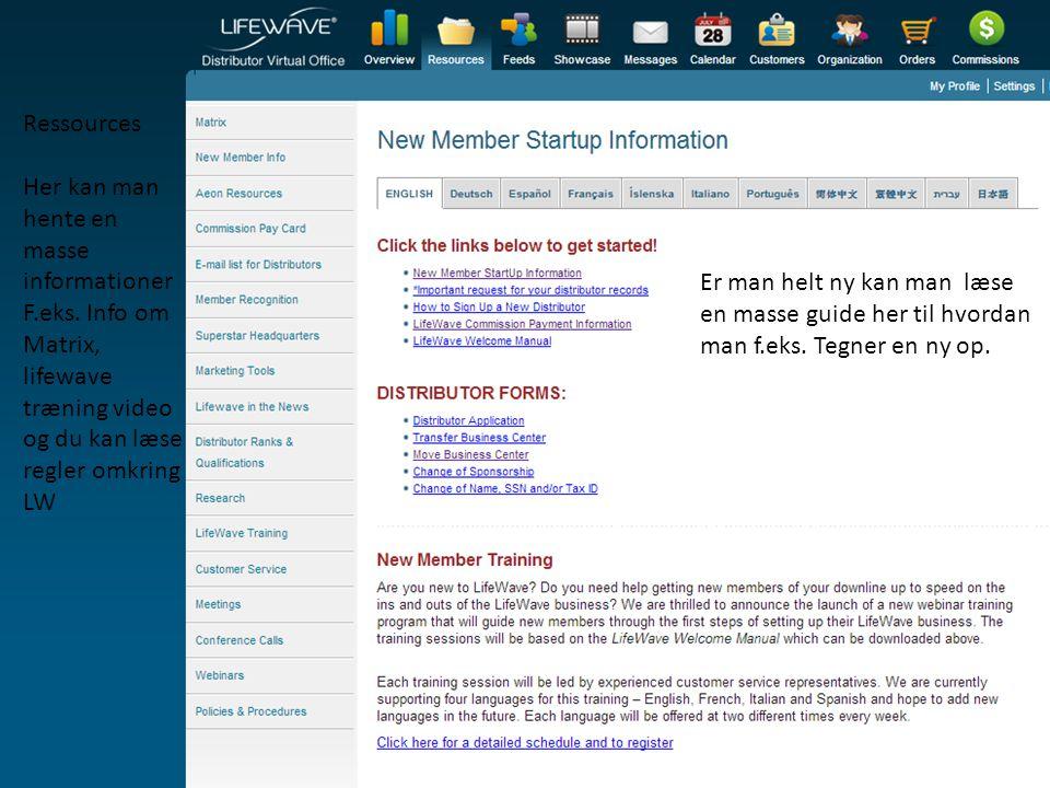 Ressources Her kan man hente en masse informationer. F.eks. Info om Matrix, lifewave træning video og du kan læse regler omkring LW.