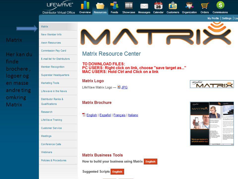 Matrix Her kan du finde brochere , logoer og en masse andre ting omkring Matrix