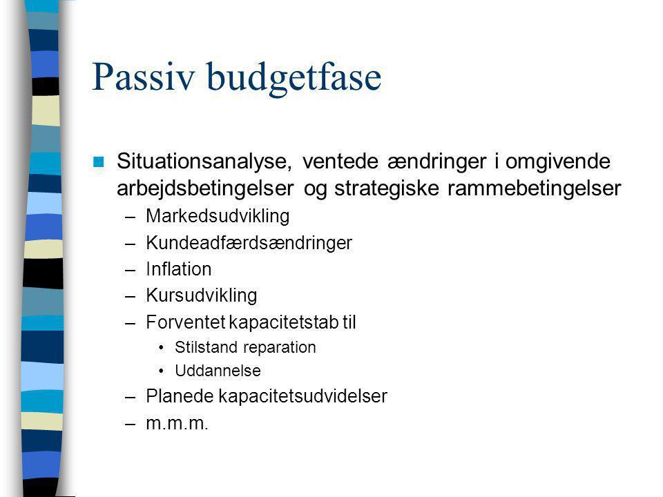 Passiv budgetfase Situationsanalyse, ventede ændringer i omgivende arbejdsbetingelser og strategiske rammebetingelser.