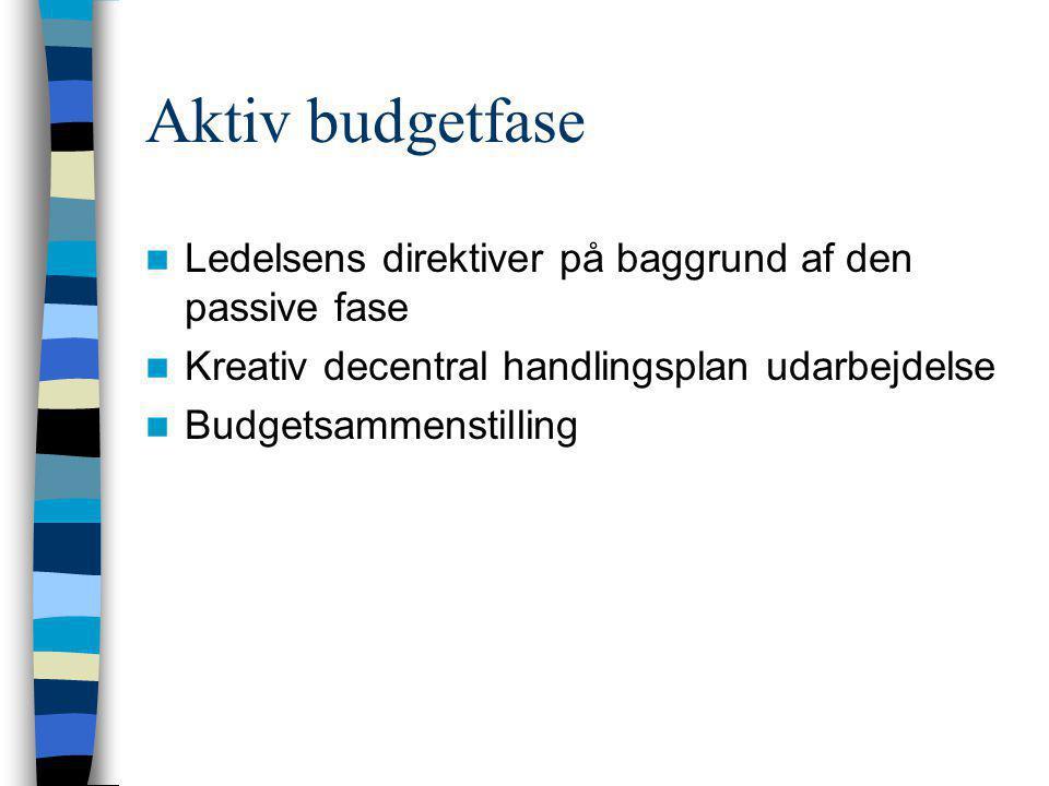 Aktiv budgetfase Ledelsens direktiver på baggrund af den passive fase
