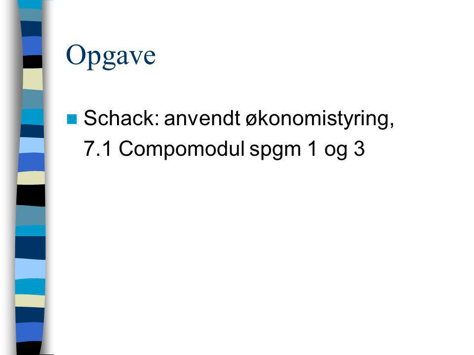 Opgave Schack: anvendt økonomistyring, 7.1 Compomodul spgm 1 og 3