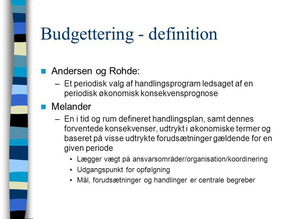 Budgettering - definition