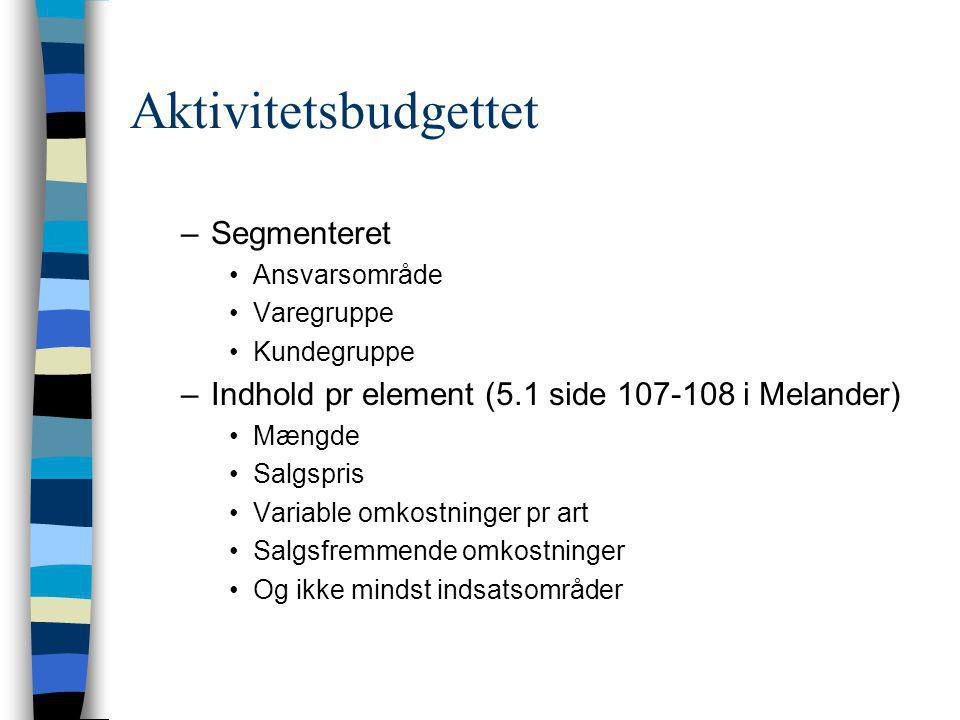 Aktivitetsbudgettet Segmenteret