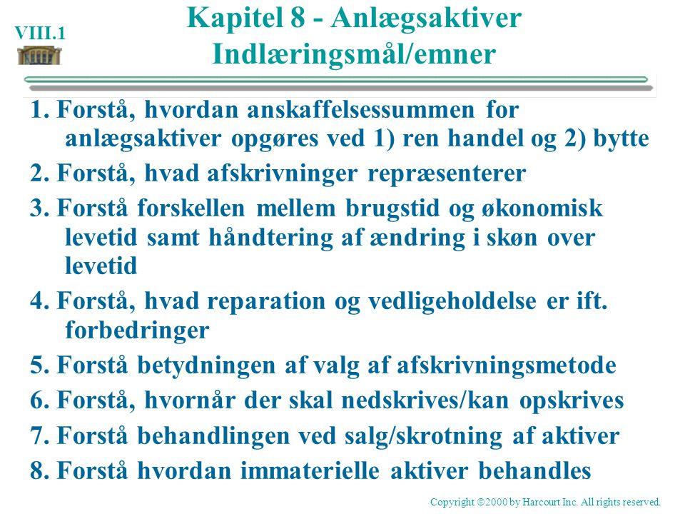 Kapitel 8 - Anlægsaktiver Indlæringsmål/emner