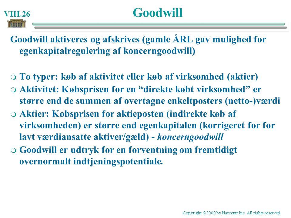 Goodwill Goodwill aktiveres og afskrives (gamle ÅRL gav mulighed for egenkapitalregulering af koncerngoodwill)