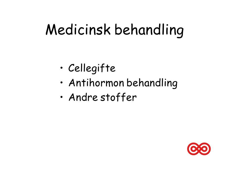 Medicinsk behandling Cellegifte Antihormon behandling Andre stoffer