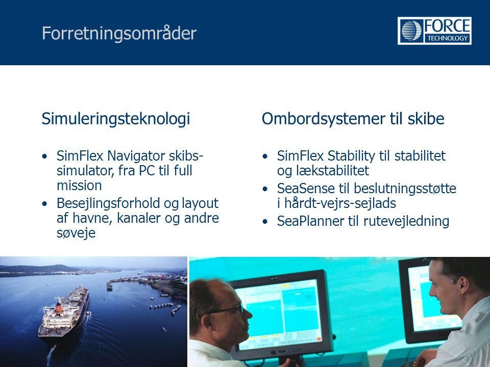 Forretningsområder Simuleringsteknologi Ombordsystemer til skibe