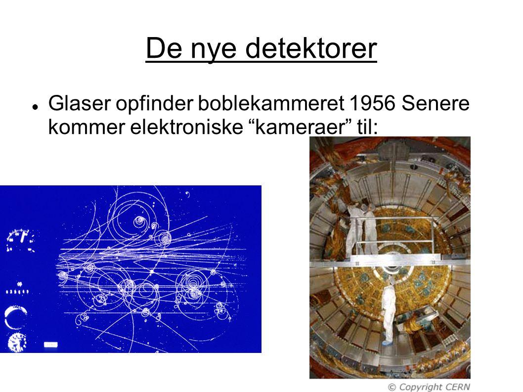 De nye detektorer Glaser opfinder boblekammeret 1956 Senere kommer elektroniske kameraer til: