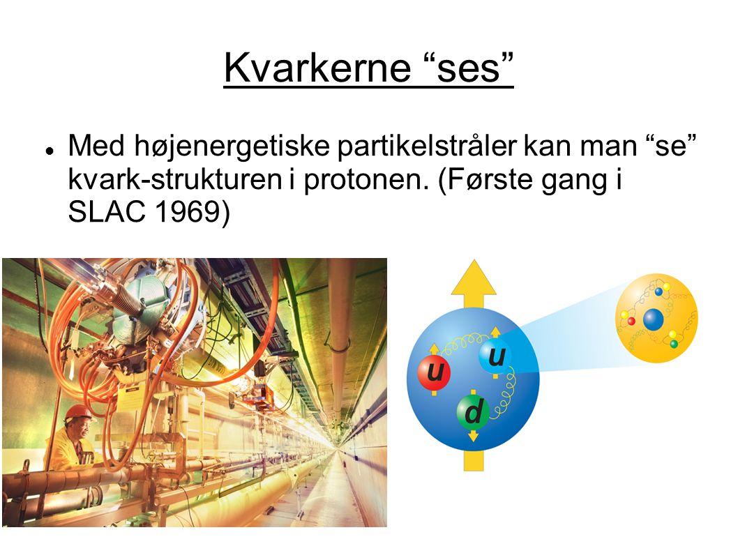 Kvarkerne ses Med højenergetiske partikelstråler kan man se kvark-strukturen i protonen.