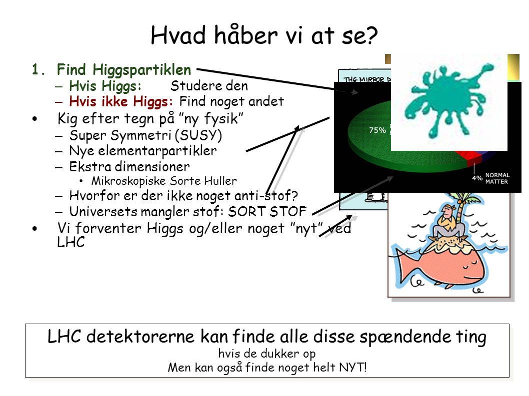 Hvad håber vi at se Find Higgspartiklen. Hvis Higgs: Studere den. Hvis ikke Higgs: Find noget andet.