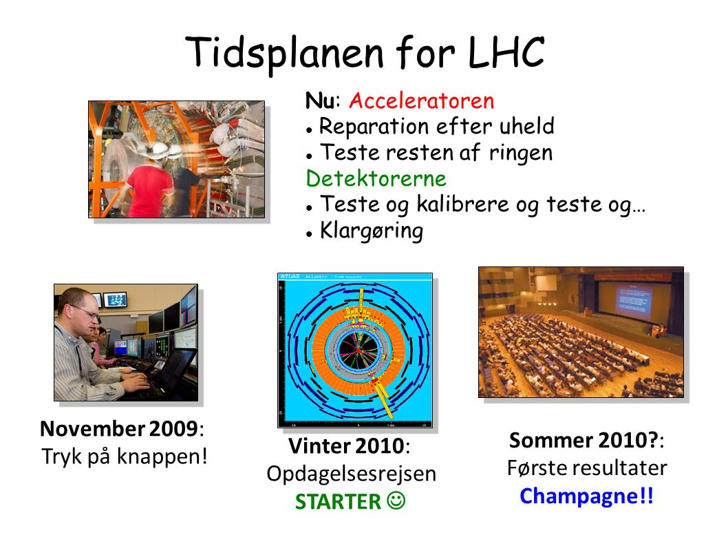 Tidsplanen for LHC November 2009: Tryk på knappen!