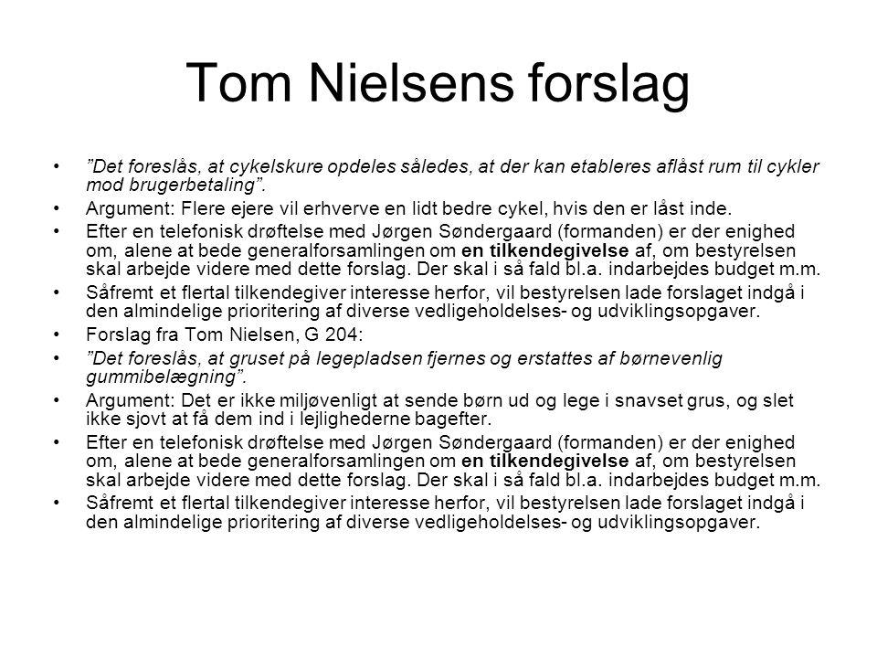 Tom Nielsens forslag Det foreslås, at cykelskure opdeles således, at der kan etableres aflåst rum til cykler mod brugerbetaling .