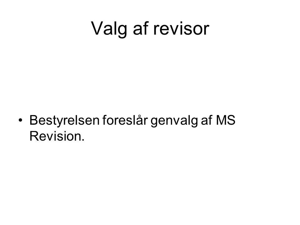 Valg af revisor Bestyrelsen foreslår genvalg af MS Revision.
