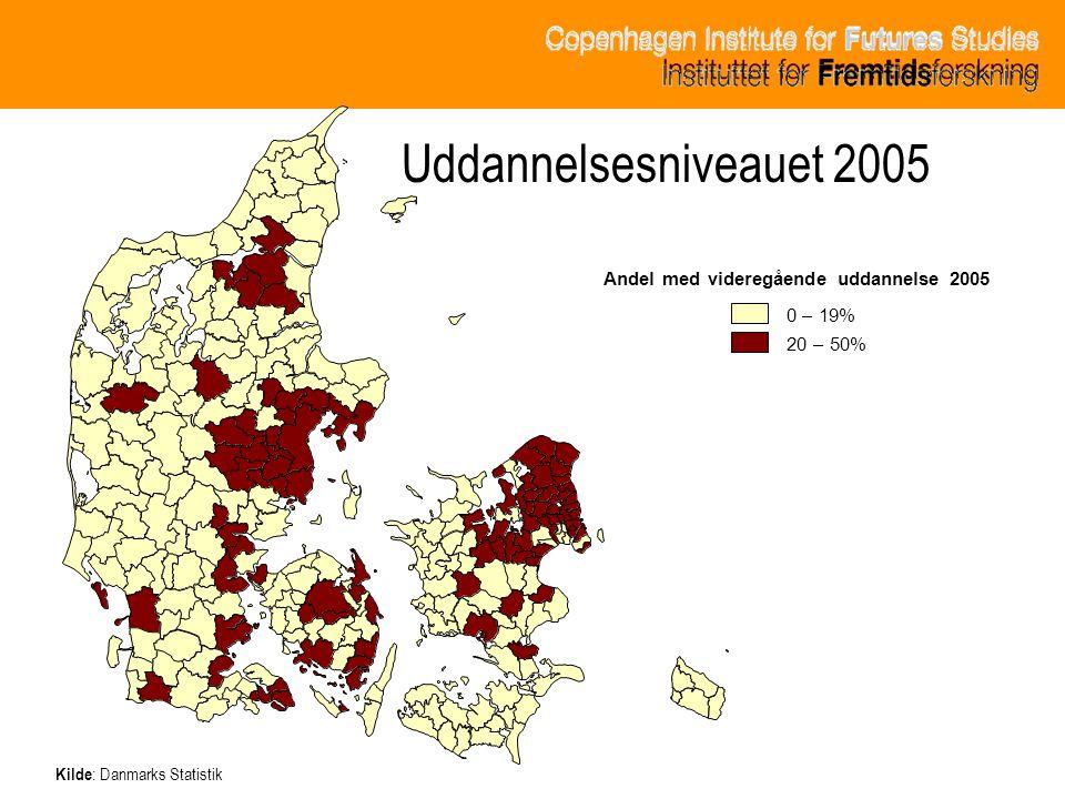 Uddannelsesniveauet 2005 Andel med videregående uddannelse 2005