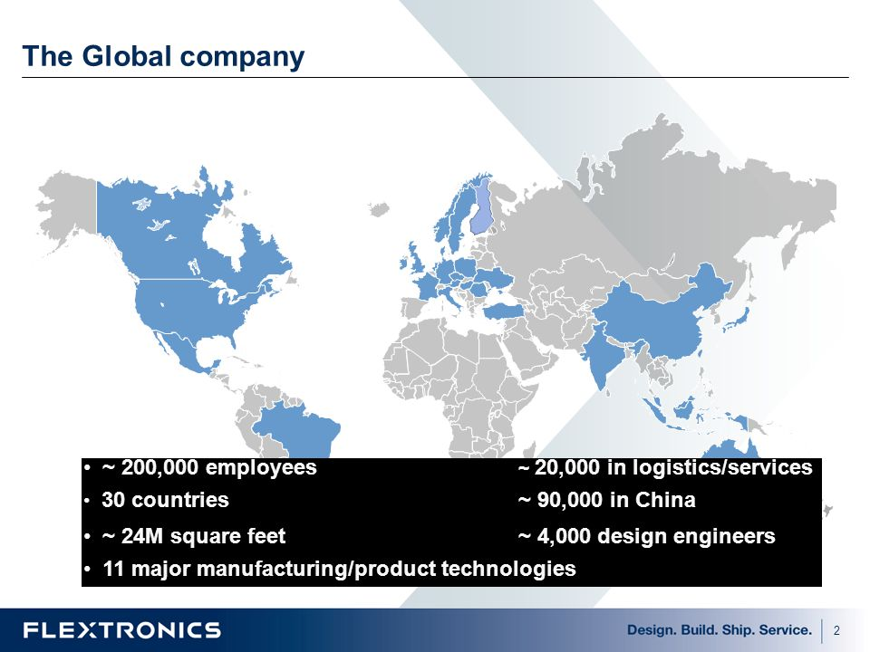 The Global company Shown is our regional manufacturing sites focus on low mix / higher volume product types.