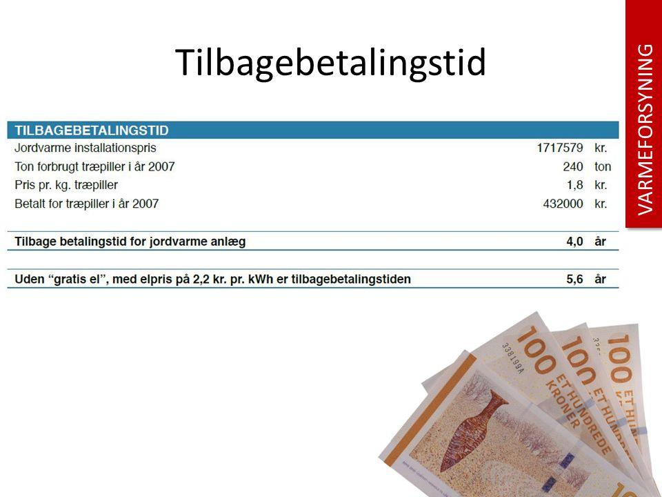 Tilbagebetalingstid VARMEFORSYNING