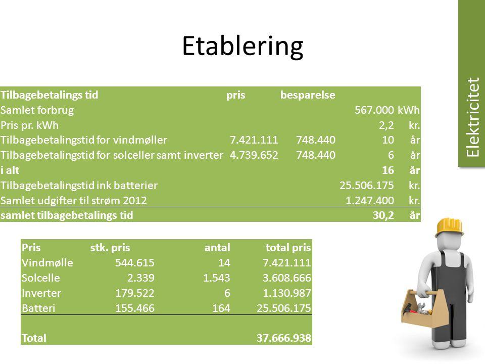 Etablering Elektricitet Tilbagebetalings tid pris besparelse
