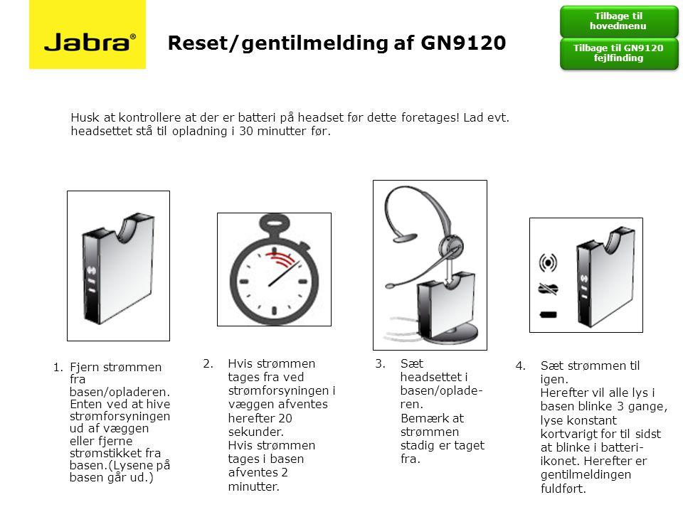 Tilbage til GN9120 fejlfinding
