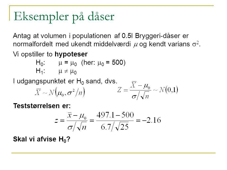 Eksempler på dåser Antag at volumen i populationen af 0.5l Bryggeri-dåser er normalfordelt med ukendt middelværdi m og kendt varians s2.