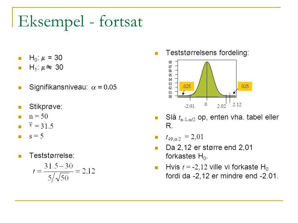 Eksempel - fortsat Teststørrelsens fordeling: H0: m = 30 H1: mm 30