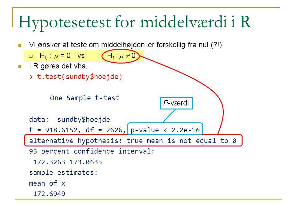 Hypotesetest for middelværdi i R