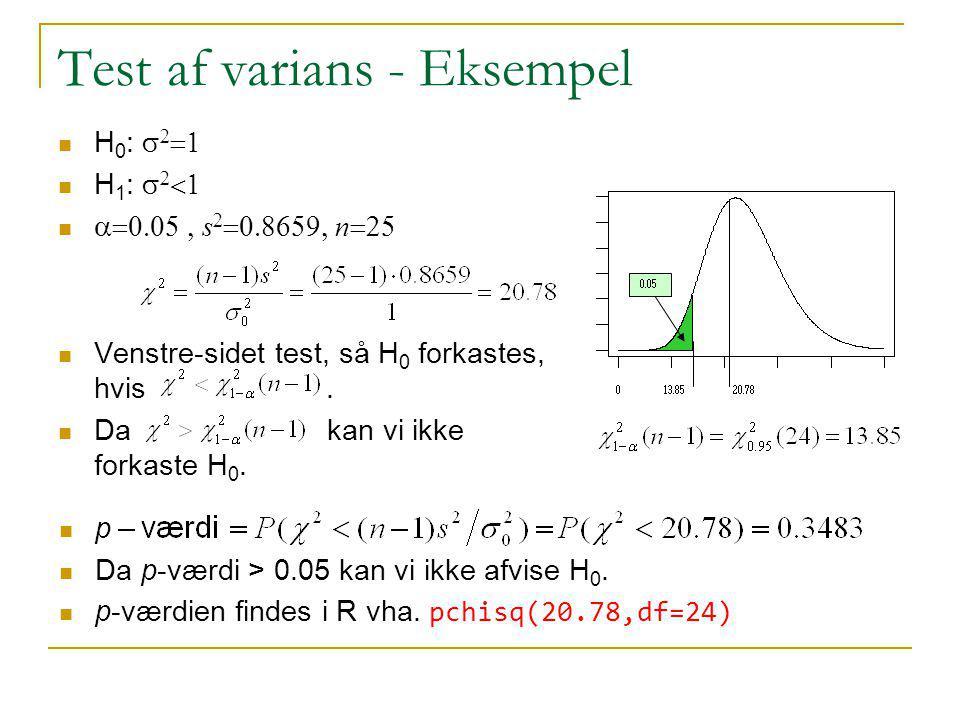 Test af varians - Eksempel