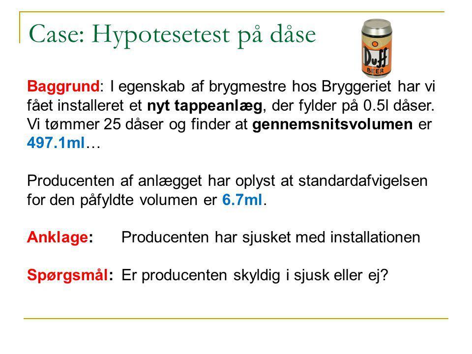 Case: Hypotesetest på dåse