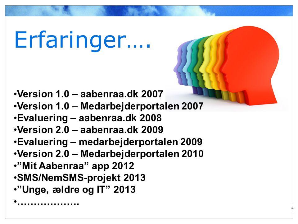Erfaringer…. Version 1.0 – aabenraa.dk 2007