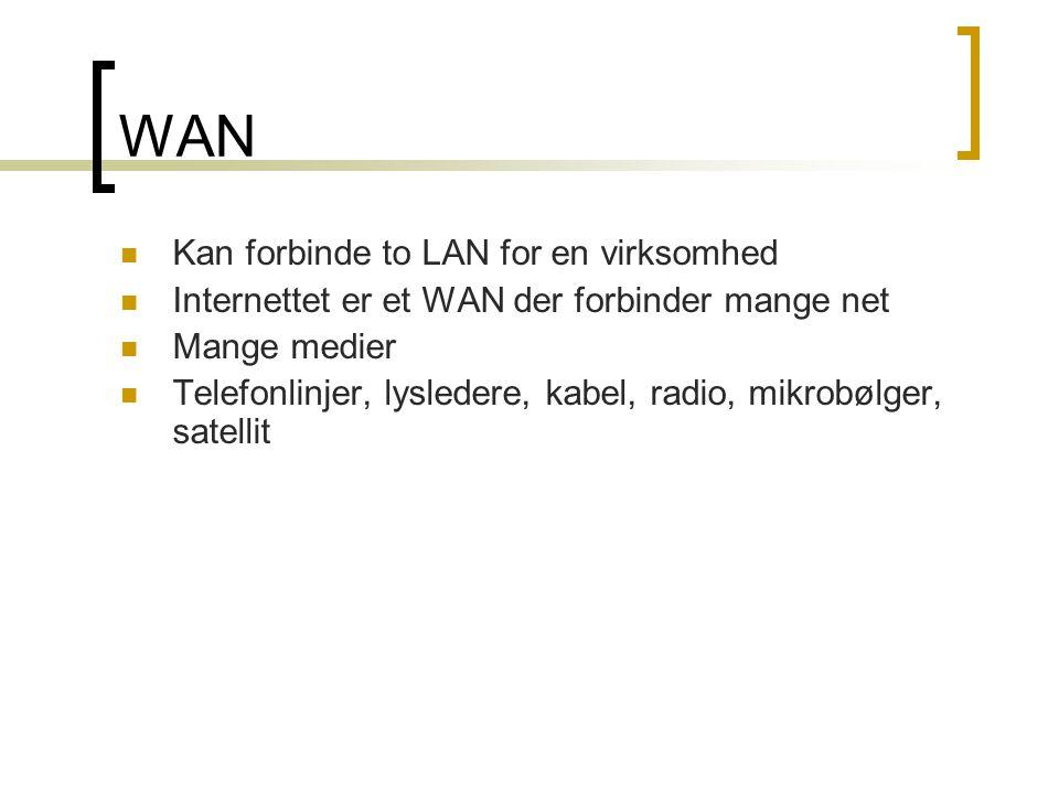 WAN Kan forbinde to LAN for en virksomhed