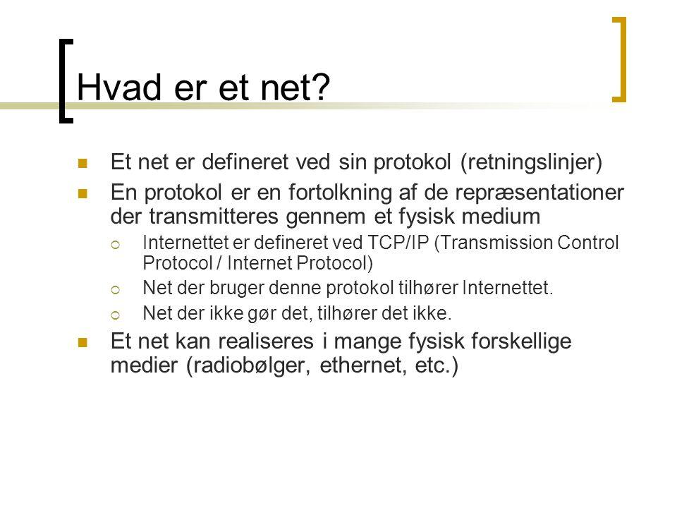 Hvad er et net Et net er defineret ved sin protokol (retningslinjer)