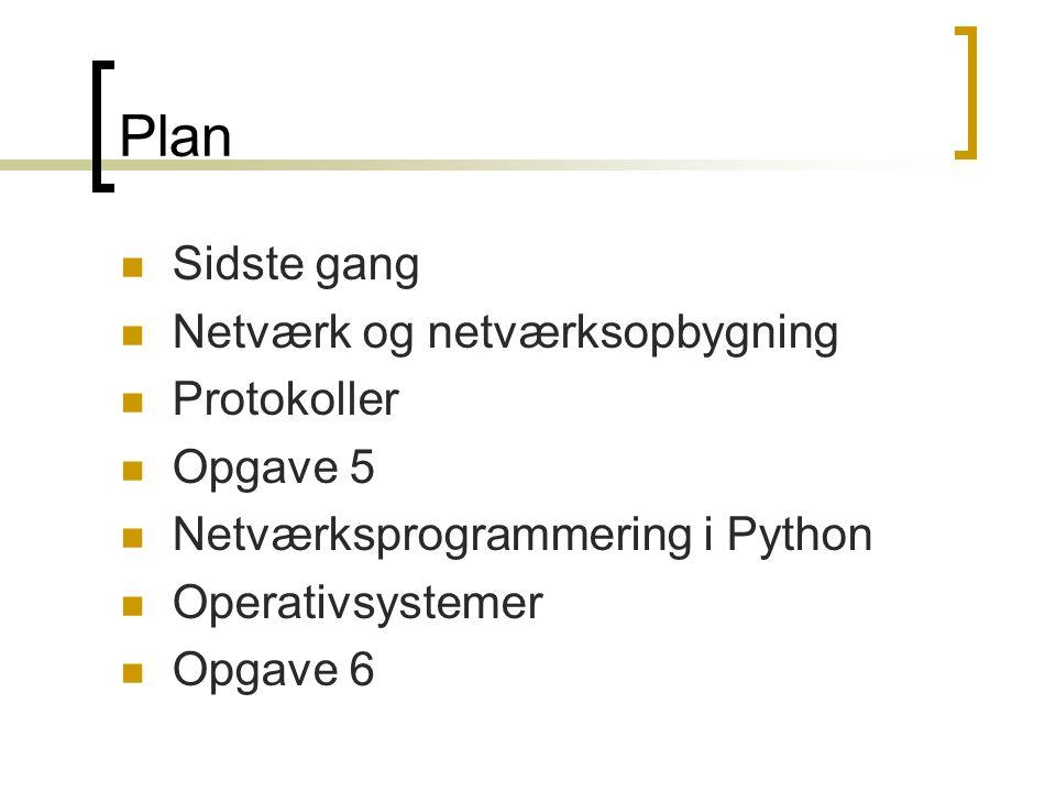 Plan Sidste gang Netværk og netværksopbygning Protokoller Opgave 5